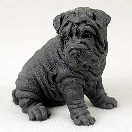 Ky & Co YesKela Shar-Pei Figurine Hand Painted Collectible Statue Black