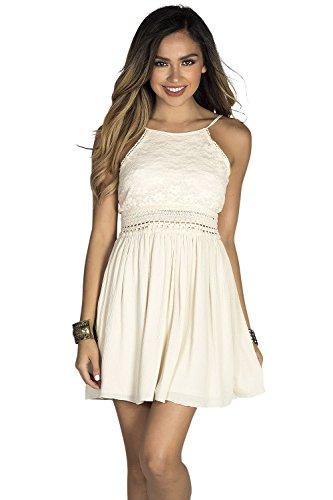 High Society Dress (Babe Society Women's Cream Lace Bodice High Neck Open Back Summer Dress Medium)