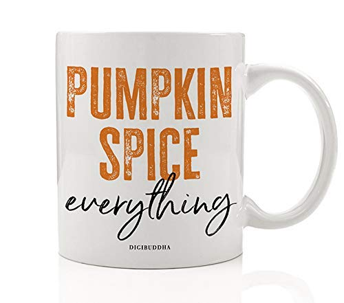 Vintage Autumn Coffee Mug Orange Pumpkin Spice Everything Gift Idea Spicy Fall Flavors Thanksgiving Holiday Present Family Friend Office Coworker 11oz Ceramic Beverage Tea Cup Digibuddha DM0373 ()