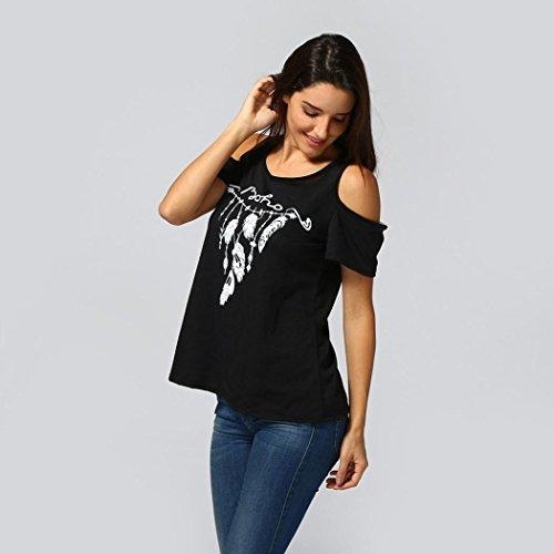 Rond Plume Sans Vêtements Casual Mode Bustier Adeshop Blouse Slim Bretelles Couleur Chic Manche Tops Noir Imprimé Haut T Pure Out shirt Col Courte Hollow Stretch Femmes WZznq8x0qS