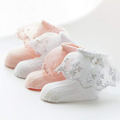 preliked Summer Cute and Breathable Baby Girl Pointelle Ruffled Bow Lace Cotton Ankle Socks Princess Stocking Pink Pearl## S (Pointelle Bow)