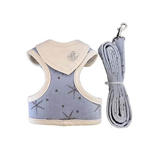 big face cat Dog Leash Traction Rope cat Chest Strap Small Fresh Printed Dog Chest Strap with Traction Rope Wholesale, Blue, L by big face cat
