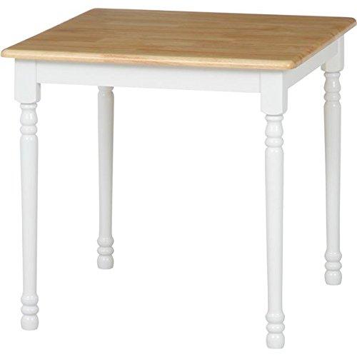 ダイニングテーブル/リビングテーブル 単品 〔ホワイト×ナチュラル 幅74cm〕 木製 『マキアート』〔代引不可〕 B07941ZYKF