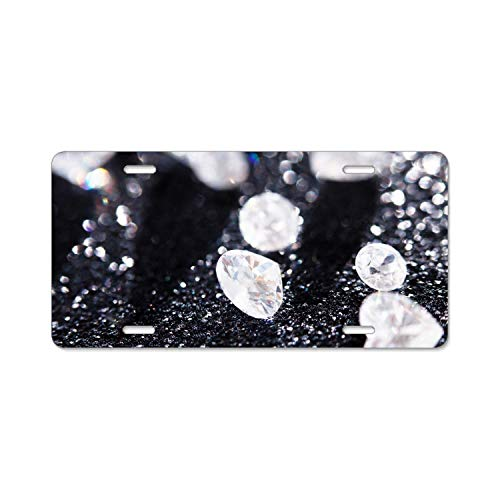 YEX Diamond Jewelry Abstract License Plate Frame with 4 Holes Novelty Car Licence Plate Covers Auto Tag Holder Tag Sign 12