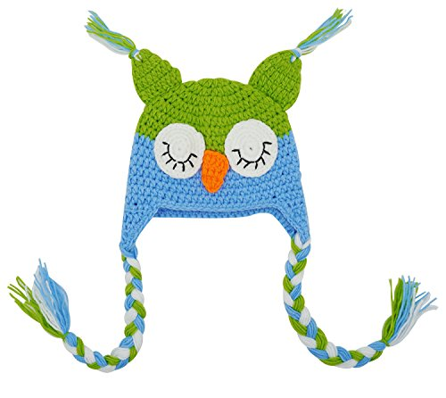 Bienvenu Baby Cute Crochet Knit Owls Woolly Cap Infant Toddler Earflap Hat,GreenBlue