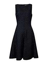 American Living Womens Pindot Sleeveless Wear to Work Dress Black 12