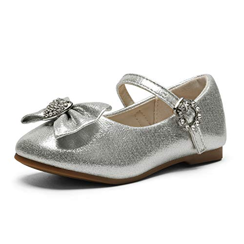 Dream Pairs ANGEL-22 Mary Jane Front Bow Heart Rhinestone Buckle Ballerina Flat (Toddler/ Little Girl) New, Silver, 10 M US Toddler (Silver Shoes For Flower Girl)