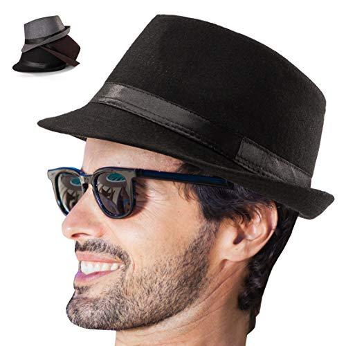 LADYBRO Mens Fedora Hat Fedora Hats for Men 3 Pack Trilby Hat Men Hats Felt Gangster Hat (Pack of 3 (Grey,Brown,Black))