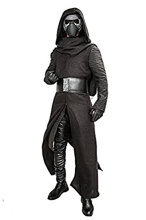 Halloween Kylo Ren Hooded Robe & Under Tunic & Gloves & Scarf & Belt Outfit Costume S