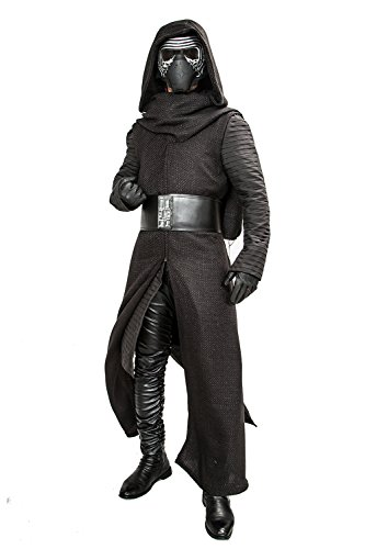 Xcoser Halloween Kylo Ren Hooded Robe & Under Tunic & Gloves & Scarf & Belt Outfit Costume S Black
