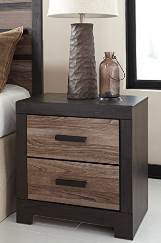 Ashley Furniture Signature Design - Harlinton 2 Drawer Night Stand - Contemporary Vintage Bedside Table - Warm Gray & Charcoal by Signature Design by Ashley