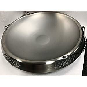 """RCK Sales 21 1/2"""" Charcoal Kettle Grill Stainless Steel Wok Topper Fits Weber 22 1/2 Kettle Grill"""