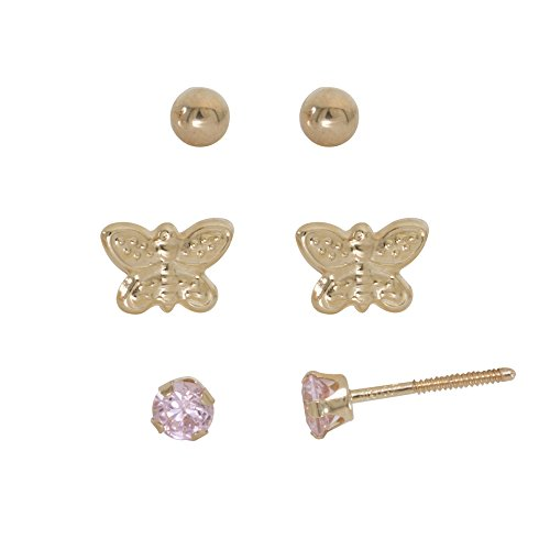 Sally Rose Girls 14k Yellow Gold Cubic Zirconia Round, Gold Ball and Butterfly 3 Pair Stud Earrings Set