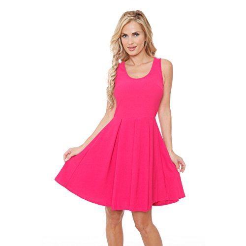 Mili Solid Color Fit and Flare Dress Sleeveless Sundress With Scoop Neckline at Amazon Womens Clothing store: