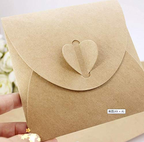 Kmall 50PCS Brown Kraft Paper CD DVD Sleeves Envelopes DVD Cardboard Storage Cases Keepers Holder Heart Button for CD/DVD Packaging Wedding