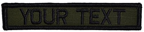 - Customizable Text 1x5 Patch w/Hook Fastener Morale Patch - Olive Drab OD