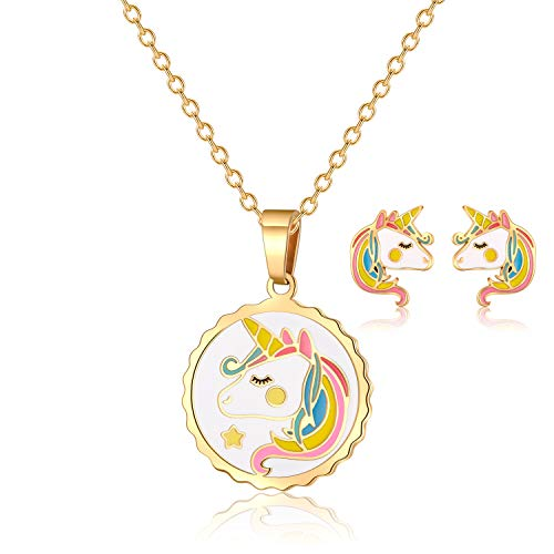 VINJEWELRY Kids Round Colorful Unicorn Pendant Necklace with Gold Chain and Girls Little Horse Earrings Studs Jewelry Set
