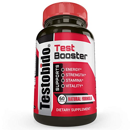 Testobido Testosterone Booster Supplement | Natural Test Booster for Men to Build Muscle, Burn Fat | Supports Energy, Vitality, Stamina & Drive | Tongkat Ali, Tribulus, Maca, L-Arginine 60 Capsules