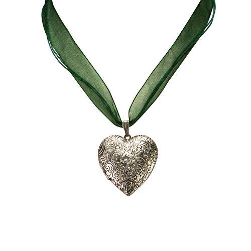 Alpenflüstern Damen Organza-Halskette Amulettherz grün DHK08000050