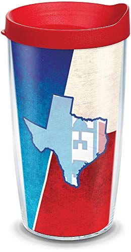 (Tervis 1135228 Texas State Flag Colossal Insulated Tumbler with Wrap and Red Lid, 16oz, Clear)