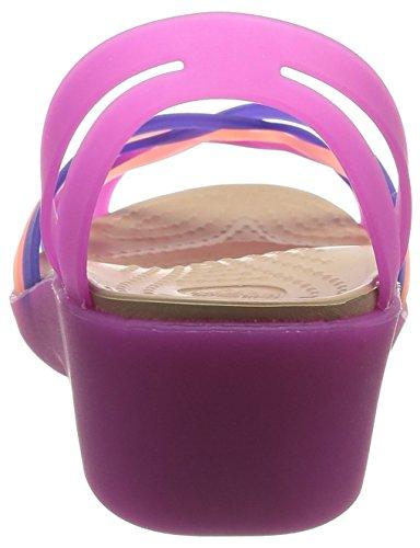 crocs HurcheMiniWdg Damen Durchgängies Plateau Ballerinas Violett (Vibrant Violet/Melon)