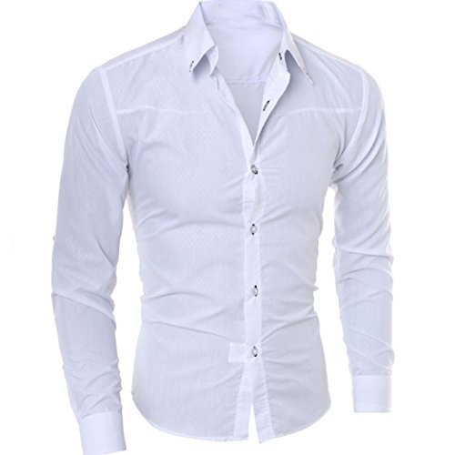 YOCheerful Man T-Shirt Blouse Casual Long Sleeve Slim Shirts Tops Tees (White,S) from YOCheerful