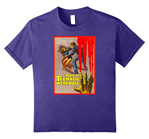 Kids Teenage Werewolf Halloween T-Shirt Novelty Tee Shirt 12 Purple (Teenage Girl Werewolf Costumes)