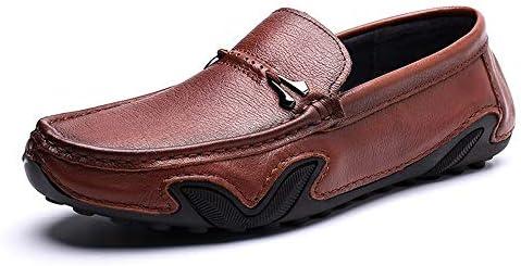 You Are Fashion 運転夏本革ローファー用男性靴モカシン快適なスリップオンオフィスビジネスドレスフォーマル男性靴ピュアカラーmetaldecor (Color : 褐色, サイズ : 24 CM)