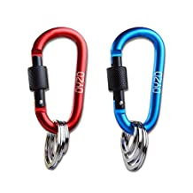 2PCS Aluminum Alloy D Ring Shape Buckle with 3 Key Ring Connectors, For Camping, Fishing, Hiking, Traveling and Keychain (Blue+Red)
