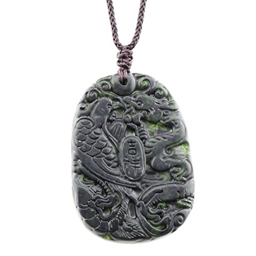FOY-MALL Natural Stone Lucky Dragon and Phoenix Pendant Necklace D1259