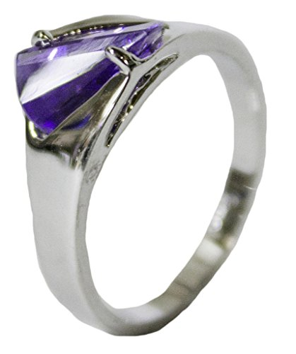 - Women's Rhodium Plated Dress Ring Tanzanite CZ 057 (9)