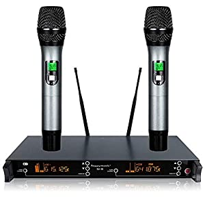 200 Channel Dual UHF Professional Wireless Microphone System Karaoke, Wedding, Conference,Evening Party, Meeting, Stage…