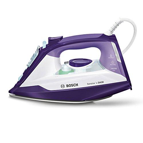 Bosch TDA3024030 Dampfbügeleisen Sensixx'x DA30 (2400 Watt max., Dampfstoß 150 g/min., Dampfleistung 40 g/min., CeraniumGlissée Bügelsohle) weiß/dunkelviolett