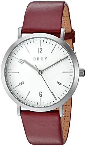 DKNY Women's Quartz Stainless Steel and Leather Casual Watch, Color:Red (Model: NY2508)