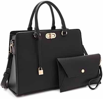 2488db5d81f9 Dasein Women s Designer Leather Satchel Top Handle Shoulder Bag Padlock Tote  Handbag w Coin Purse