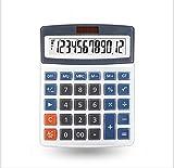 CalculatorSolar Computer Solar Dual Power Supply  Plastic Button 12 Digits Large Screen Display Business Office (Gray 071)