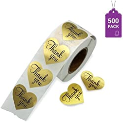 Thank You Stickers Gold Heart Shaped Foil Easy-Pull Adhesive Foil Labels (500)