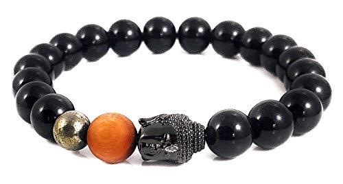 (Ballari Onyx Bead Bracelet for Men, Mens Tibetan Buddhist Style Bracelet, 10mm Black Bead Bracelet for Men, Root Chakra Healing Bracelet)