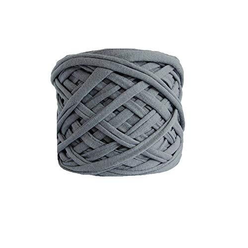 Gray Macaroni Yarn DIY Cotton T-Shirt Yarn Bulky Fettuccini Zpagetti Yarn Cloth T Shirt Trapillo Yarn Crocheting Bags Bowls DIY Wall Hanging Yarn 400g