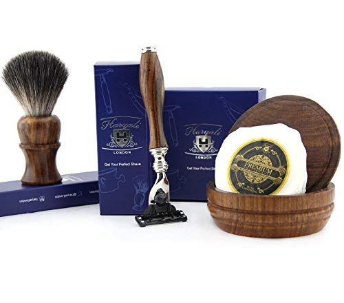 4 PCs Wooden Shaving Set With Gillette Mach 3, Pure Badger Hair Brush, Soap & Bowl Haryali London