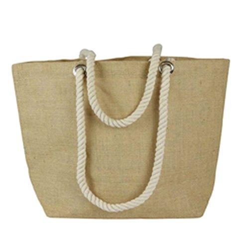 Go Tote Loom (Eco-friendly Burlap Jute Tote Beach Shopping Bag Natural Color 18