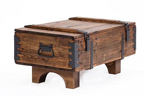 Own Design - Baul de viaje antiguo como mesa auxiliar de diseno rustico, cofre de madera de pino estilo vintage para guardar las mantas