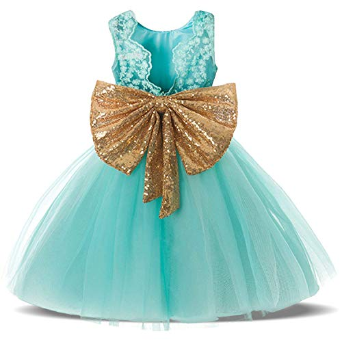 Mint Green Backless Sequin Tulle Elegant Tutu Fluffy Pageant Party Wedding Dresses for Toddler Baby Girls Sequin Kids Bow Dreams Prom Dress Size 4 4t Age 4 Green 110
