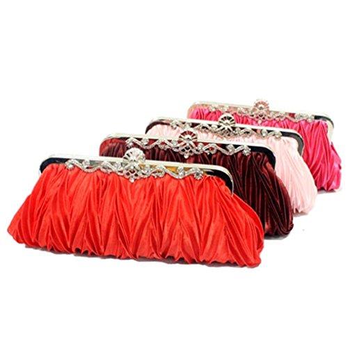 ERGEOB Damen Clutch Abendtasche Handtasche Clutch Kleine Satintasche Banketttasche Hochzeittasche Brauttasche Rosa