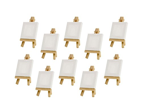 Z-Color 10 sets Mini Display Easel WIth Canvas 7×7cm Wedding Table Numbers Painting Hobby