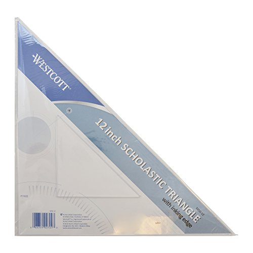 Westcott Student Grade Polystyrene Triangle, 45 and 90 Degrees, 12 Inches, Clear
