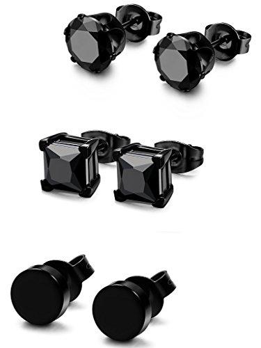 FIBO STEEL 3 Pairs Stainless Steel Black Stud Earrings for Men Women CZ Earrings, 4mm