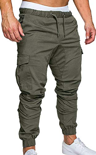 ZOEREA Jogger Cargo Men's Chino Jeans Casual Trouser Outdoor Working Pants (Green-New Version, 2XL)