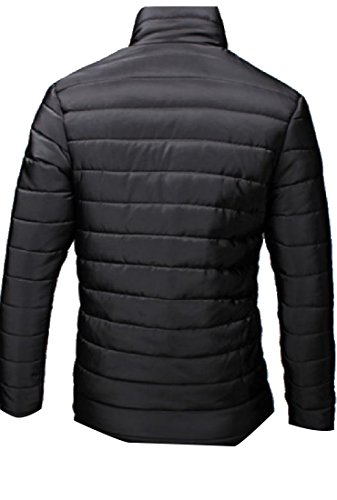 Slim Men's Jacket AngelSpace Black Outwear Sleeve Down Quilted Solid Long Warm qExBx1dw