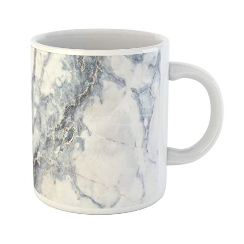 Semtomn Funny Coffee Mug Blue Gold Gray Light Marble Stone Watercolor White Abstract 11 Oz Ceramic Coffee Mugs Tea Cup Best Gift Or Souvenir